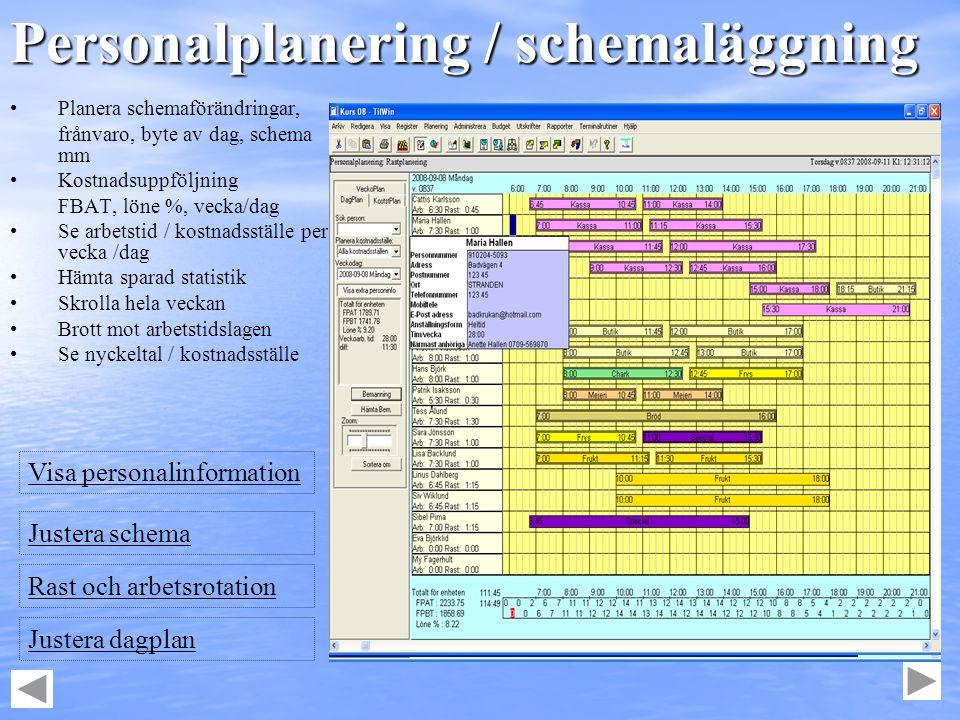 Personalplanering / schemaläggning