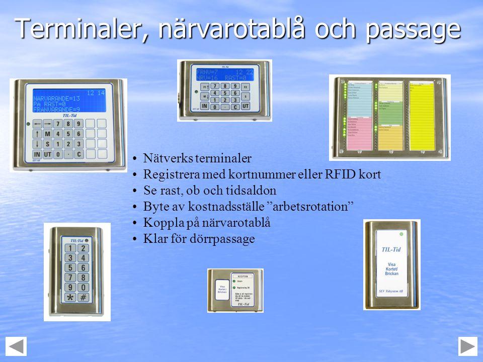 Terminaler, närvarotablå och passage
