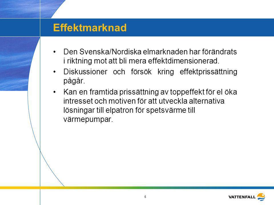 Effektmarknad Den Svenska/Nordiska elmarknaden har förändrats i riktning mot att bli mera effektdimensionerad.