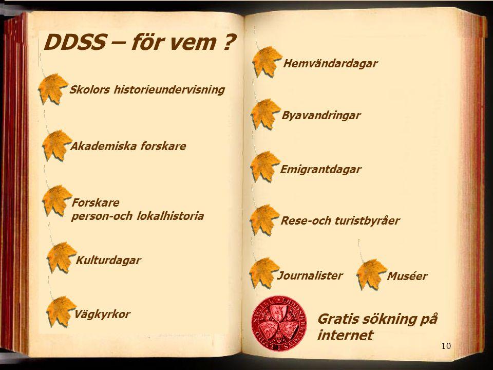 DDSS – för vem Gratis sökning på internet Hemvändardagar