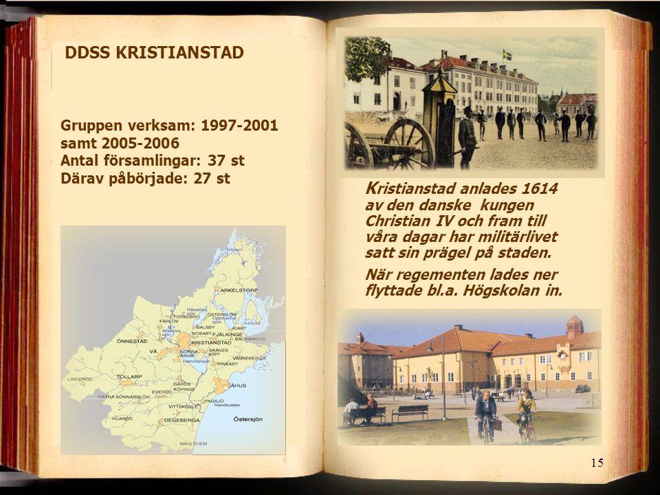 DDSS KRISTIANSTAD Gruppen verksam: 1997-2001 samt 2005-2006 Antal församlingar: 37 st Därav påbörjade: 27 st.