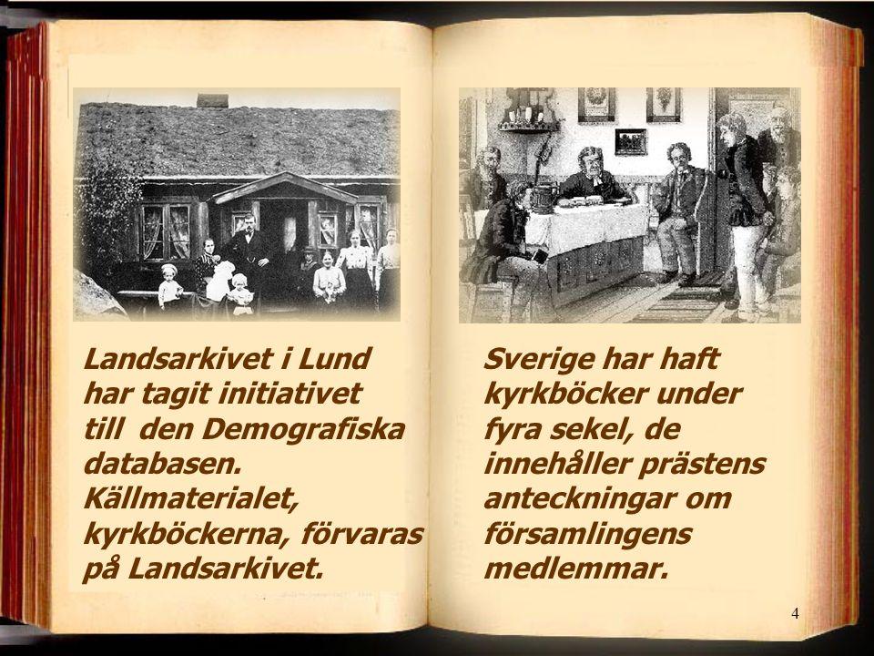 Landsarkivet i Lund har tagit initiativet till den Demografiska databasen. Källmaterialet, kyrkböckerna, förvaras på Landsarkivet.