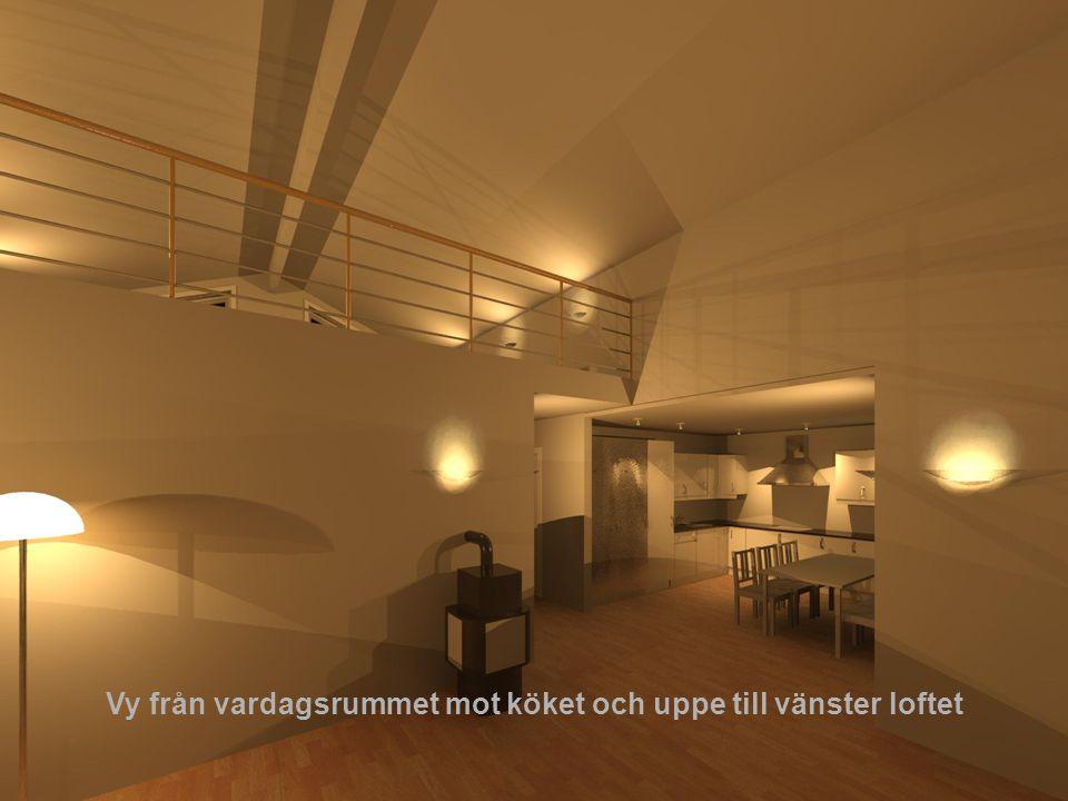 Vy från vardagsrummet mot köket och uppe till vänster loftet