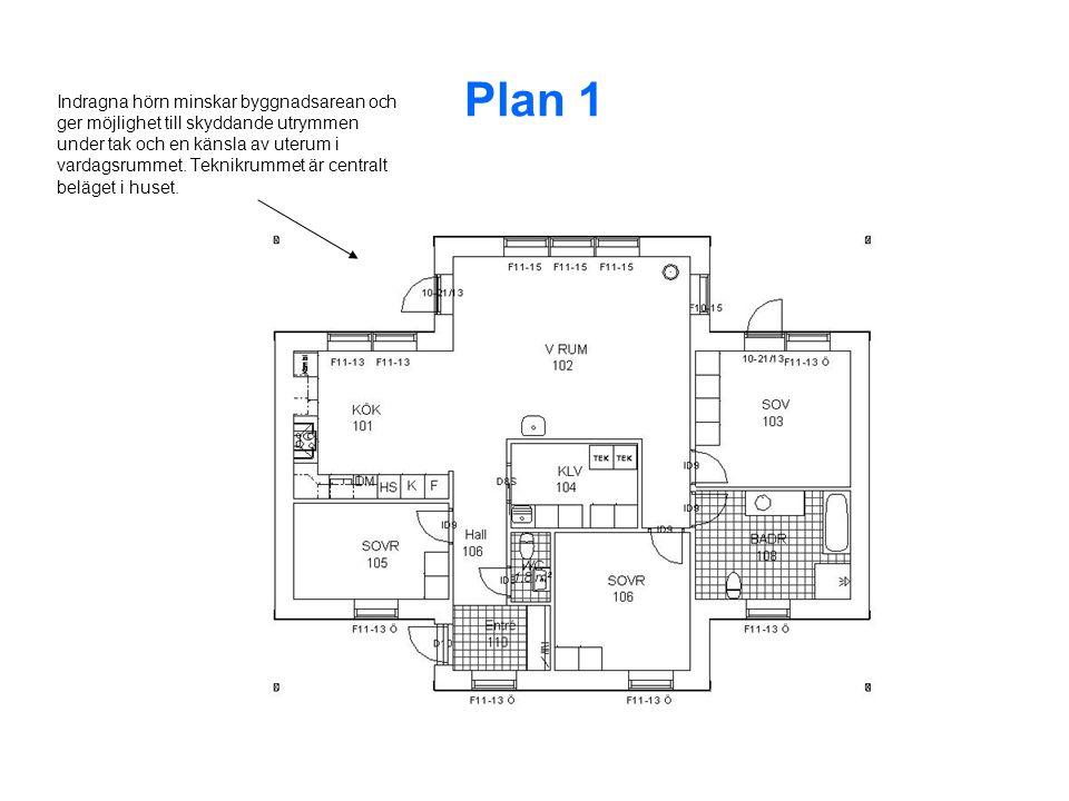 Plan 1 Indragna hörn minskar byggnadsarean och