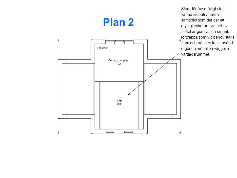 Plan 2 Stora förrådsmöjligheter i varma sidoutrymmen