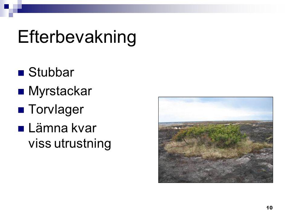 Efterbevakning Stubbar Myrstackar Torvlager Lämna kvar viss utrustning
