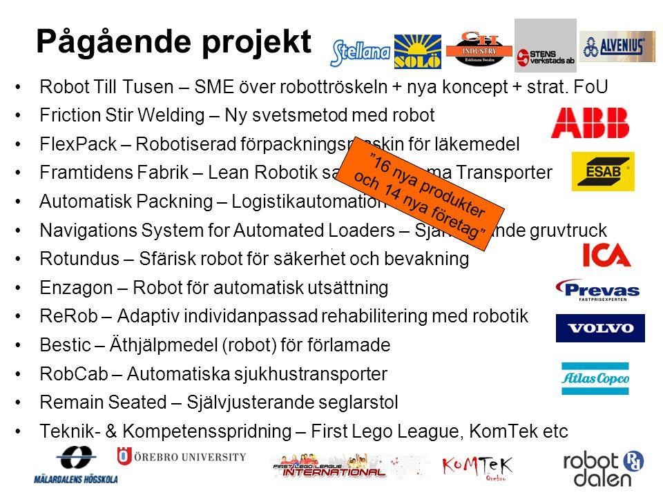 Pågående projekt Robot Till Tusen – SME över robottröskeln + nya koncept + strat. FoU. Friction Stir Welding – Ny svetsmetod med robot.