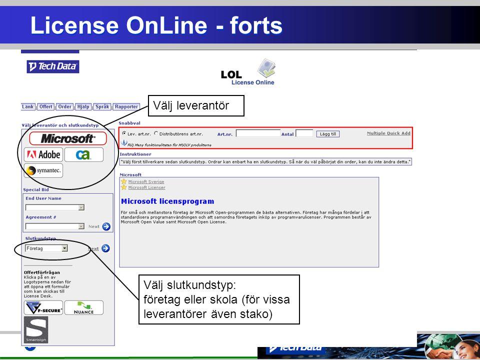 License OnLine - forts Välj leverantör
