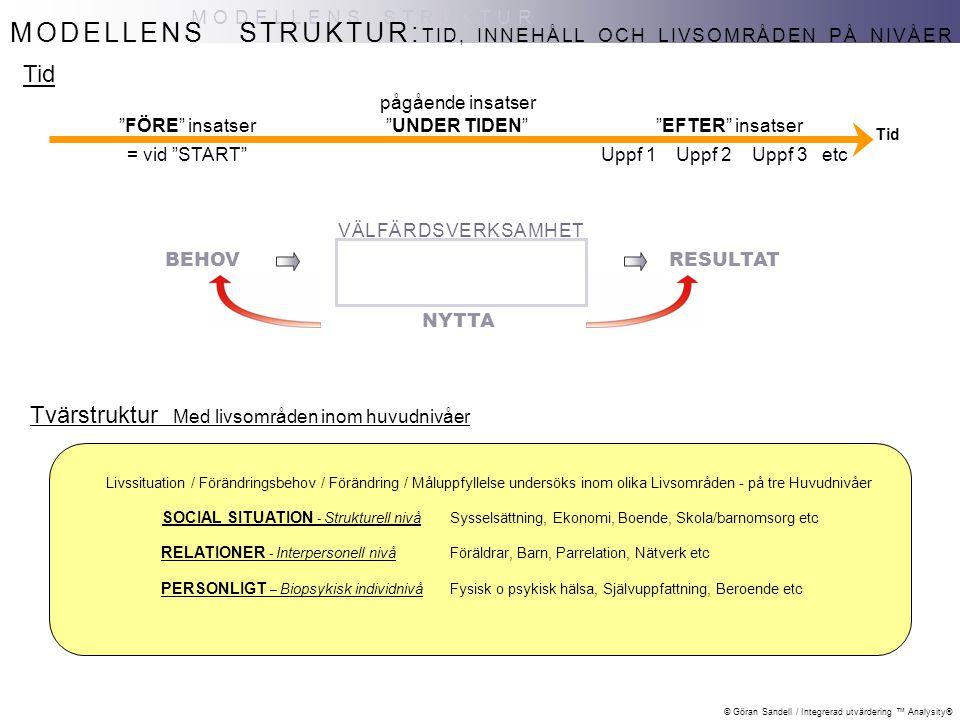 MODELLENS STRUKTUR: Tid Tvärstruktur Med livsområden inom huvudnivåer