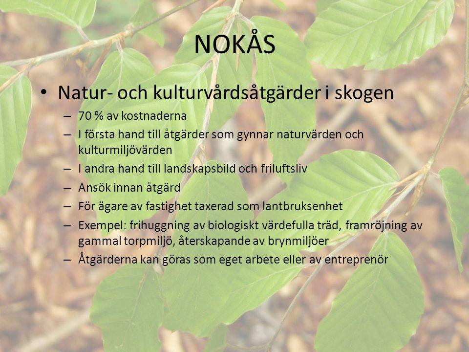 NOKÅS Natur- och kulturvårdsåtgärder i skogen 70 % av kostnaderna