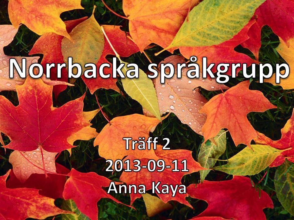 Norrbacka språkgrupp Träff 2 2013-09-11 Anna Kaya