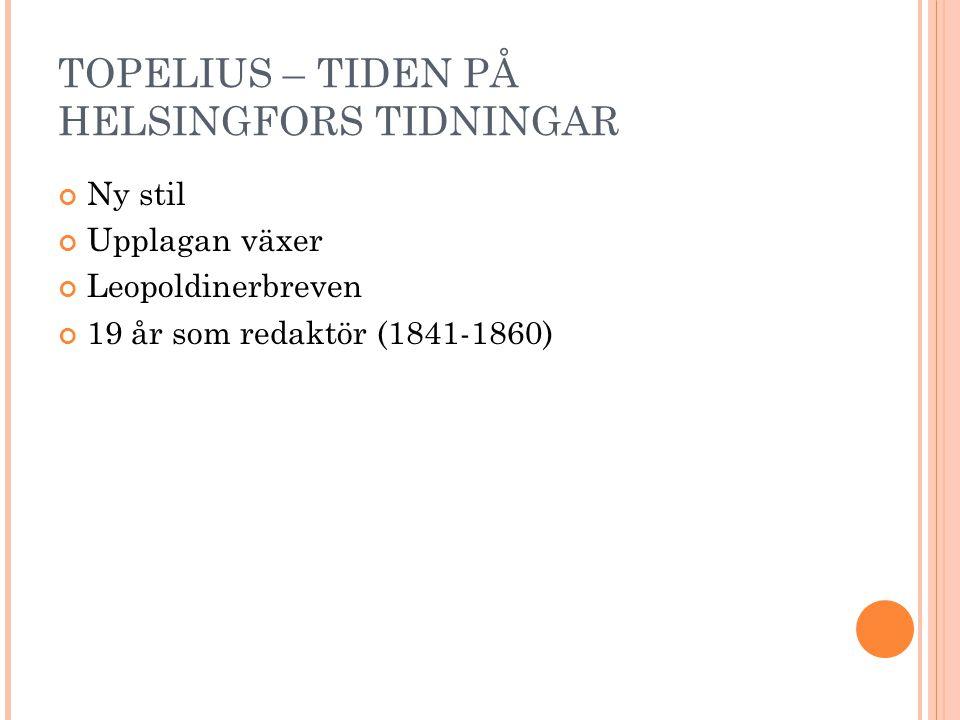 TOPELIUS – TIDEN PÅ HELSINGFORS TIDNINGAR