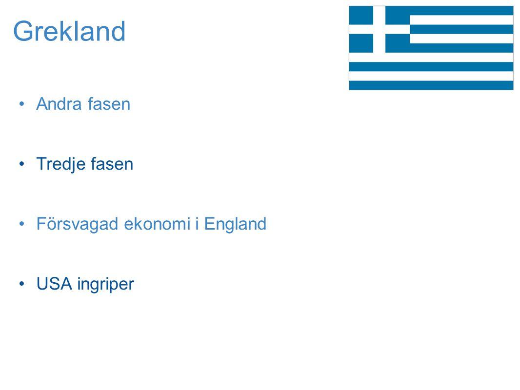 Grekland Andra fasen Tredje fasen Försvagad ekonomi i England