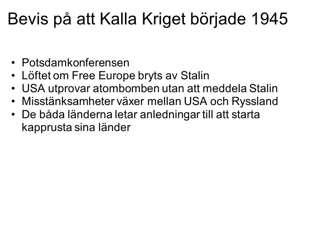 Bevis på att Kalla Kriget började 1945