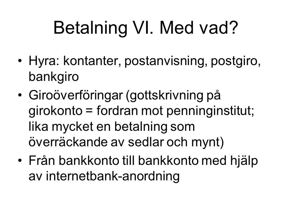 Betalning VI. Med vad Hyra: kontanter, postanvisning, postgiro, bankgiro.
