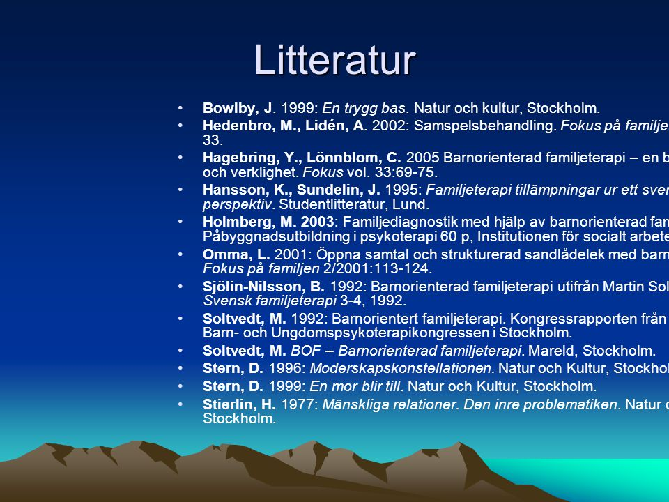Litteratur Bowlby, J. 1999: En trygg bas. Natur och kultur, Stockholm.
