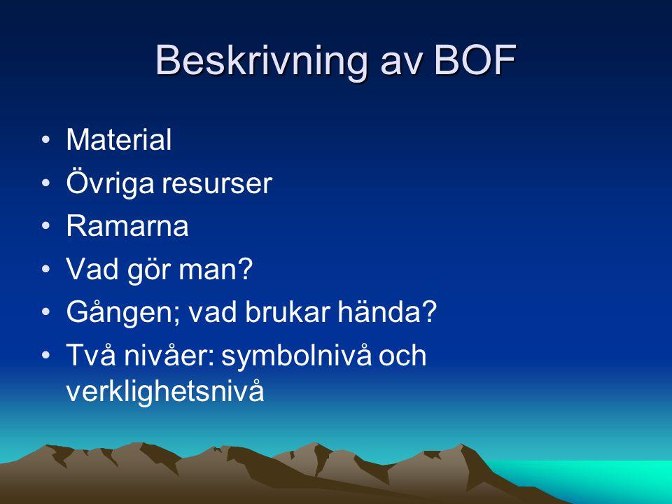 Beskrivning av BOF Material Övriga resurser Ramarna Vad gör man