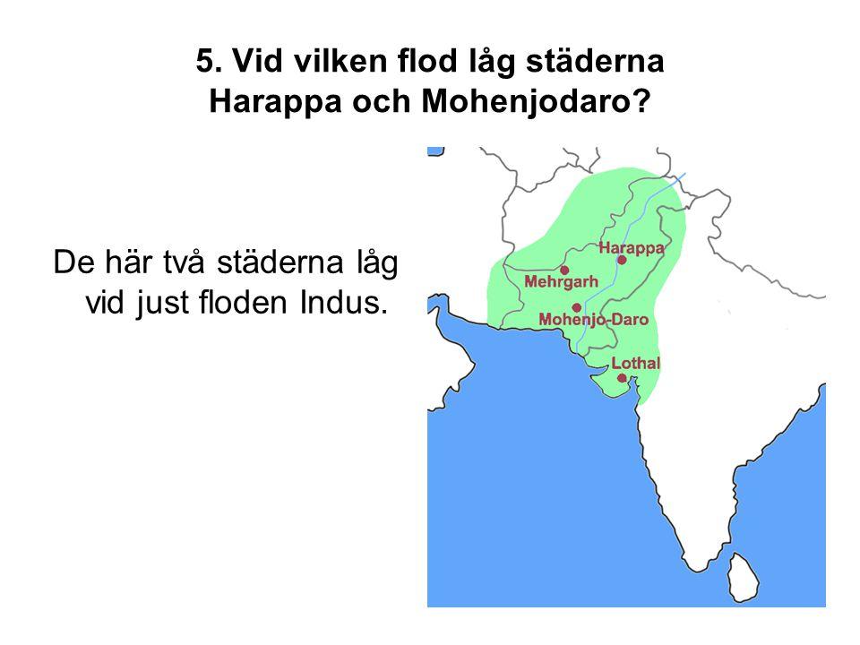 5. Vid vilken flod låg städerna Harappa och Mohenjodaro