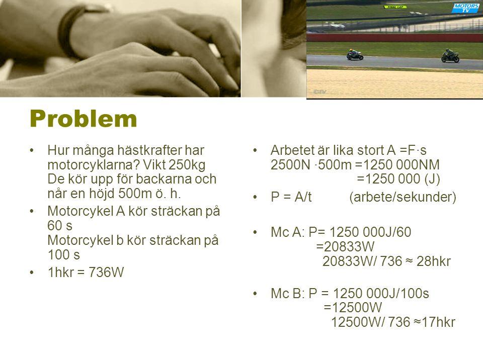 Problem Hur många hästkrafter har motorcyklarna Vikt 250kg De kör upp för backarna och når en höjd 500m ö. h.