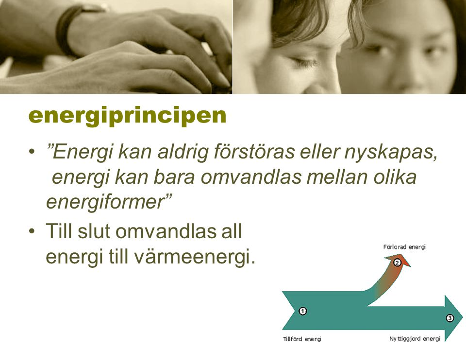 energiprincipen Energi kan aldrig förstöras eller nyskapas, energi kan bara omvandlas mellan olika energiformer