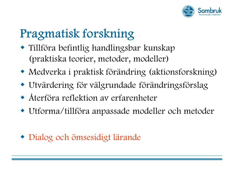 Pragmatisk forskning Tillföra befintlig handlingsbar kunskap (praktiska teorier, metoder, modeller)