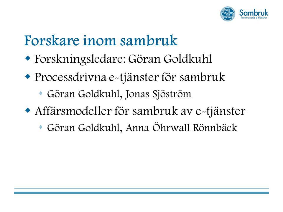 Forskare inom sambruk Forskningsledare: Göran Goldkuhl