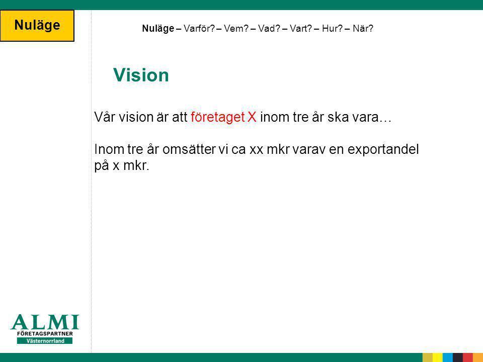 Vision Nuläge Vår vision är att företaget X inom tre år ska vara…