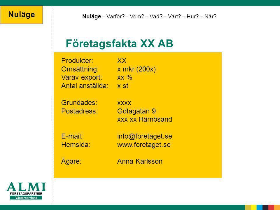 Företagsfakta XX AB Nuläge Produkter: XX Omsättning: x mkr (200x)