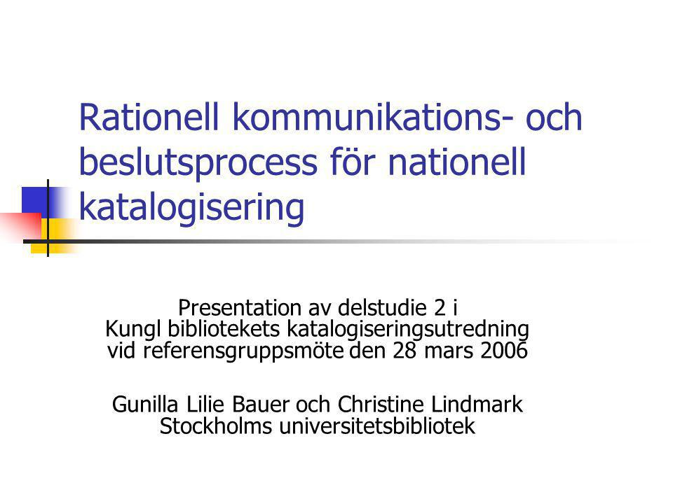 Rationell kommunikations- och beslutsprocess för nationell katalogisering