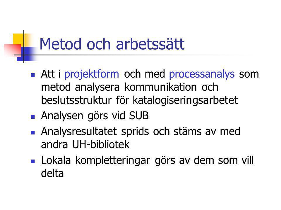 Metod och arbetssätt Att i projektform och med processanalys som metod analysera kommunikation och beslutsstruktur för katalogiseringsarbetet.