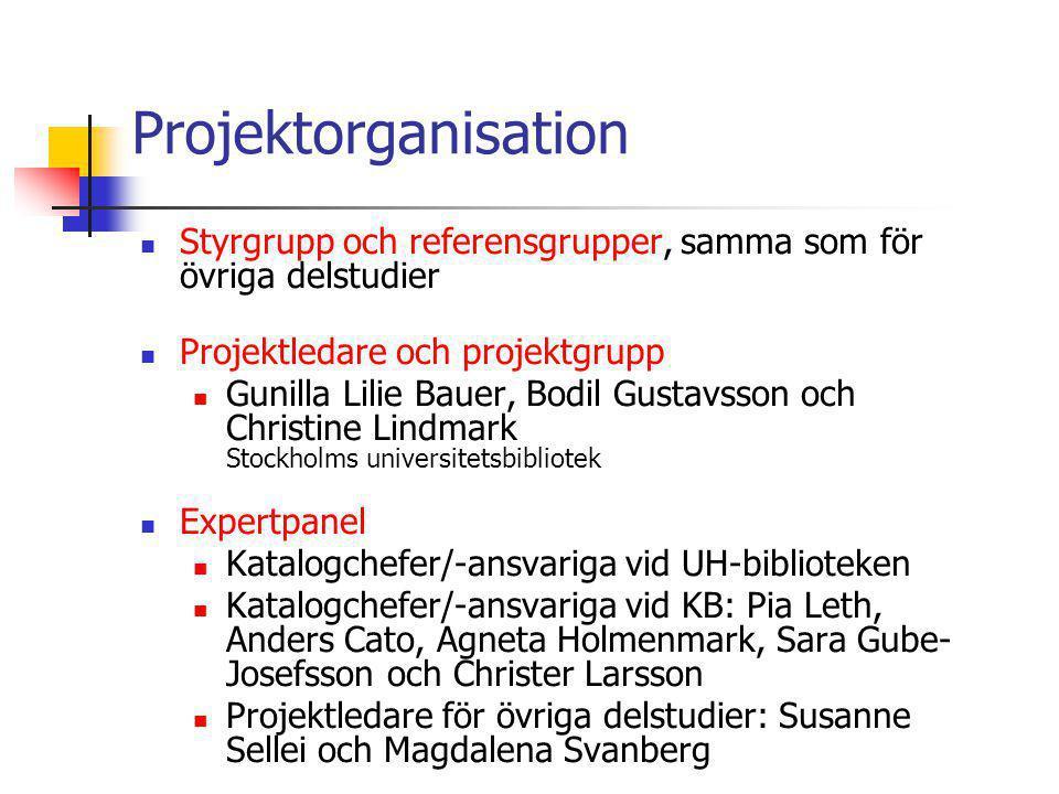 Projektorganisation Styrgrupp och referensgrupper, samma som för övriga delstudier. Projektledare och projektgrupp.