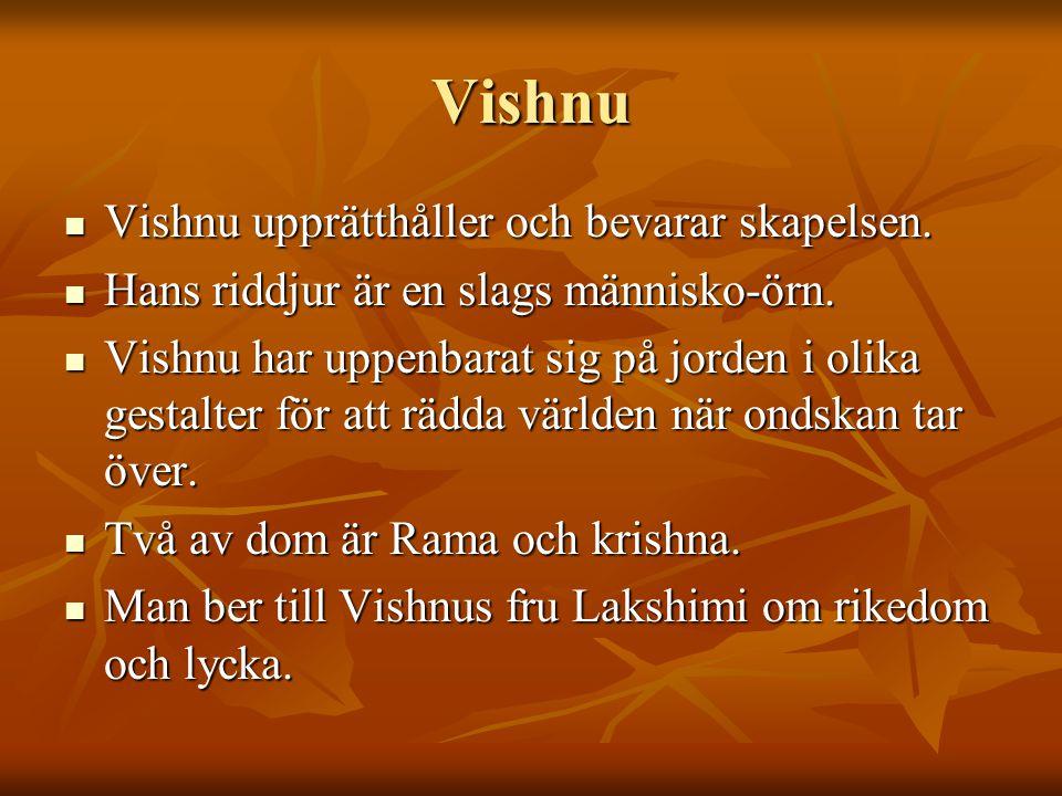 Vishnu Vishnu upprätthåller och bevarar skapelsen.