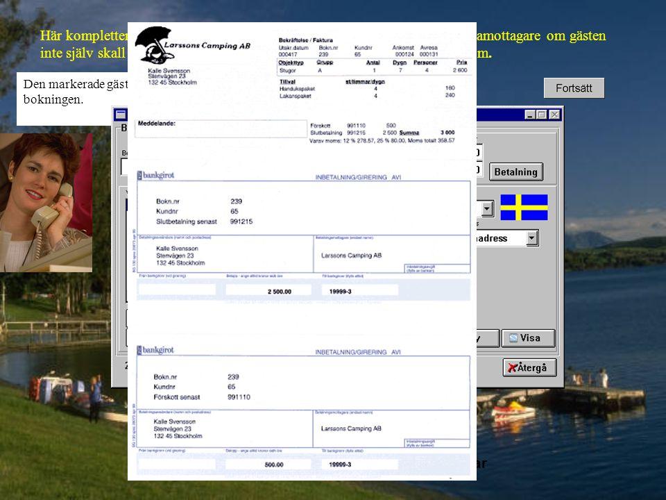 Här kompletteras bokningen med: tillval, gästens adress, adress till fakturamottagare om gästen inte själv skall betala bokningen, bokningsanteckningar, betalningssätt m m.