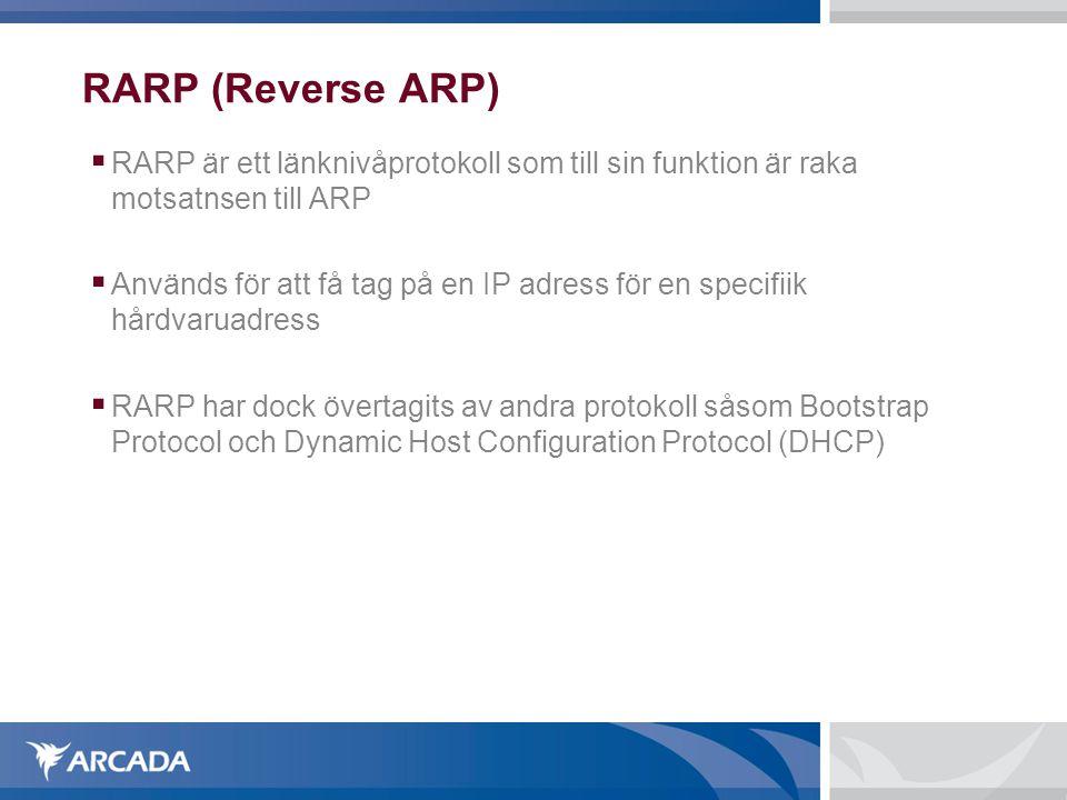 RARP (Reverse ARP) RARP är ett länknivåprotokoll som till sin funktion är raka motsatnsen till ARP.