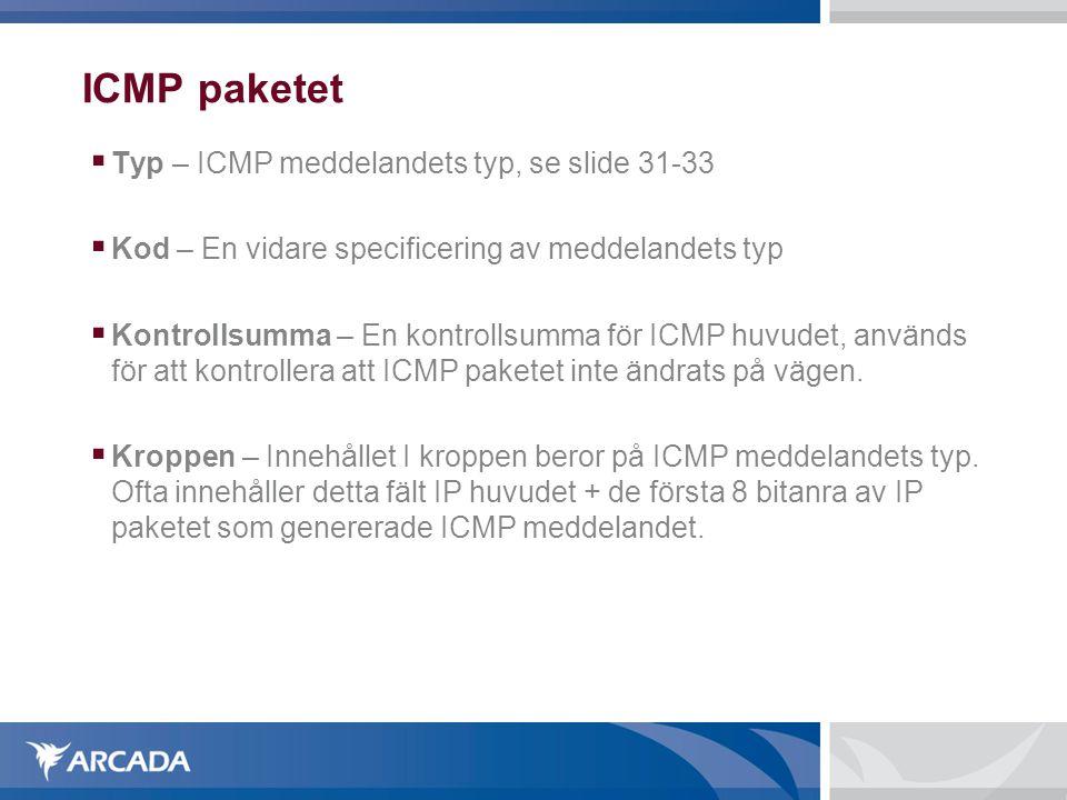 ICMP paketet Typ – ICMP meddelandets typ, se slide 31-33