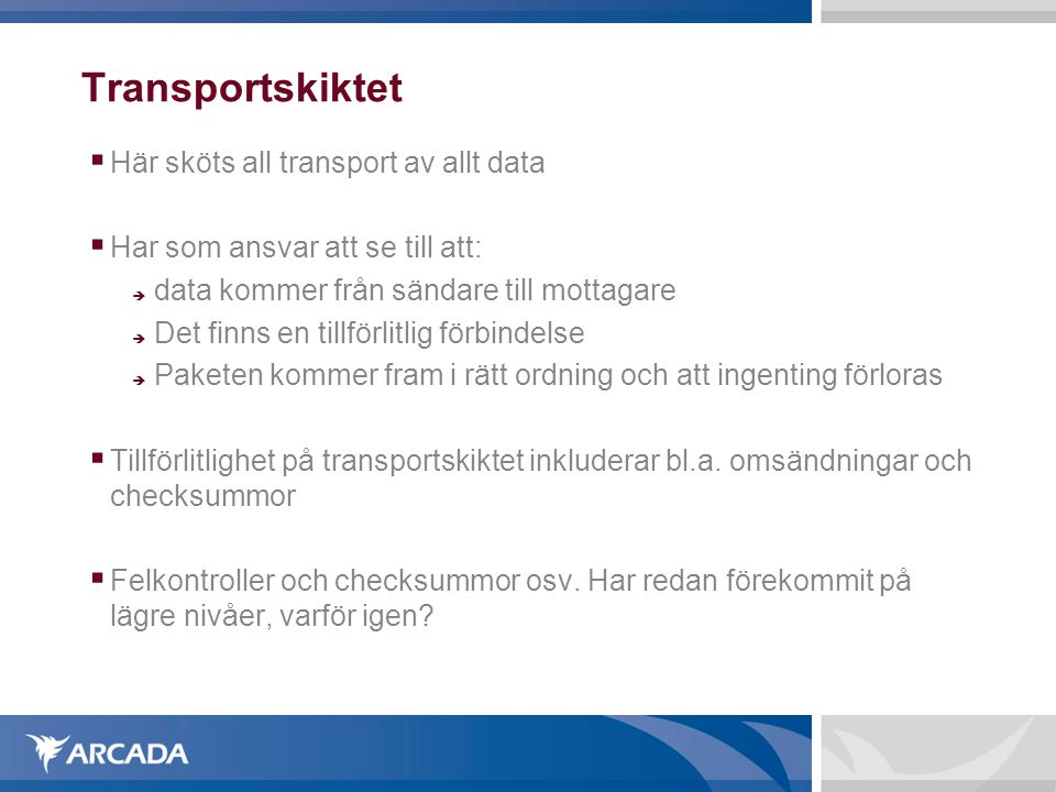 Transportskiktet Här sköts all transport av allt data