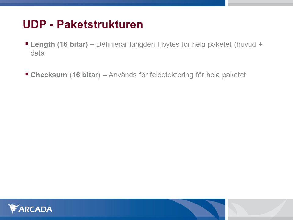 UDP - Paketstrukturen Length (16 bitar) – Definierar längden I bytes för hela paketet (huvud + data.