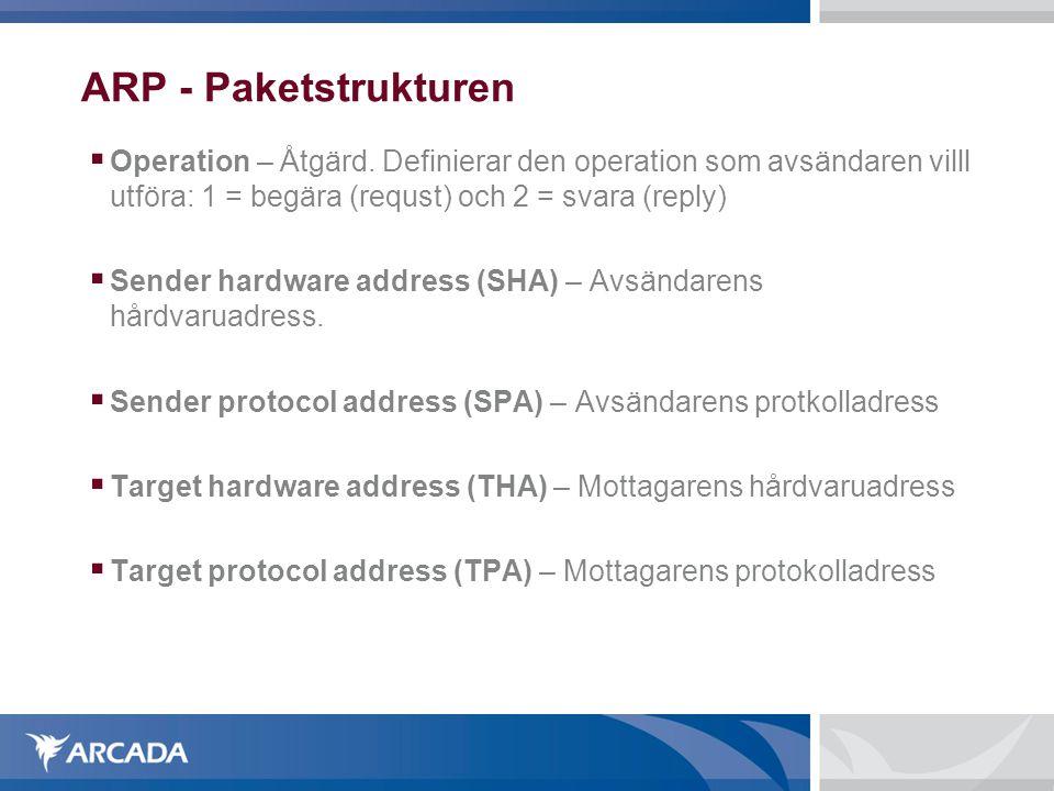 ARP - Paketstrukturen Operation – Åtgärd. Definierar den operation som avsändaren villl utföra: 1 = begära (requst) och 2 = svara (reply)