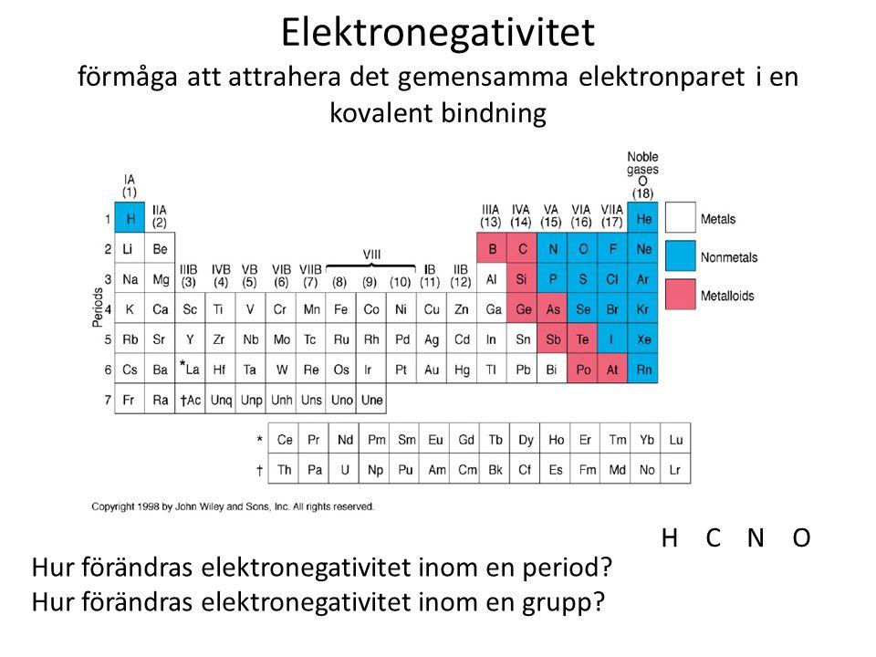 Elektronegativitet förmåga att attrahera det gemensamma elektronparet i en kovalent bindning
