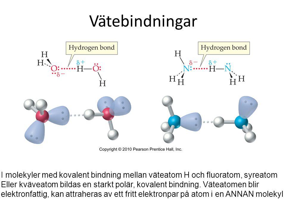 Vätebindningar Vätebindning är ett specialfall av dipol-dipolbindning. Notera vätebindning är attraktionen mellan två molekyler.
