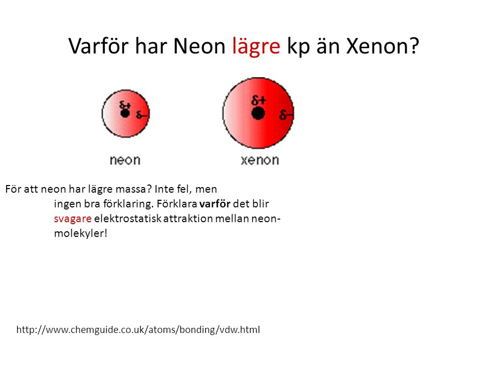 Varför har Neon lägre kp än Xenon