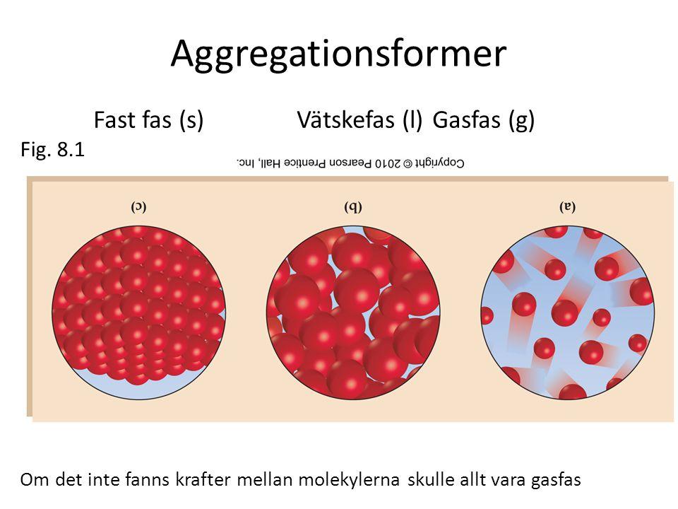 Aggregationsformer Fast fas (s) Vätskefas (l) Gasfas (g) Fig. 8.1