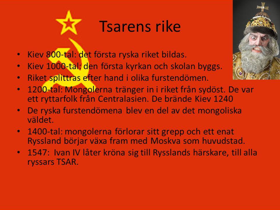 Tsarens rike Kiev 800-tal: det första ryska riket bildas.