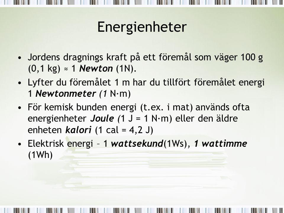 Energienheter Jordens dragnings kraft på ett föremål som väger 100 g (0,1 kg) ≈ 1 Newton (1N).