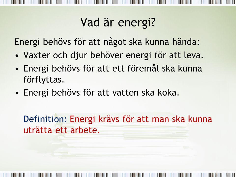 Vad är energi Energi behövs för att något ska kunna hända: