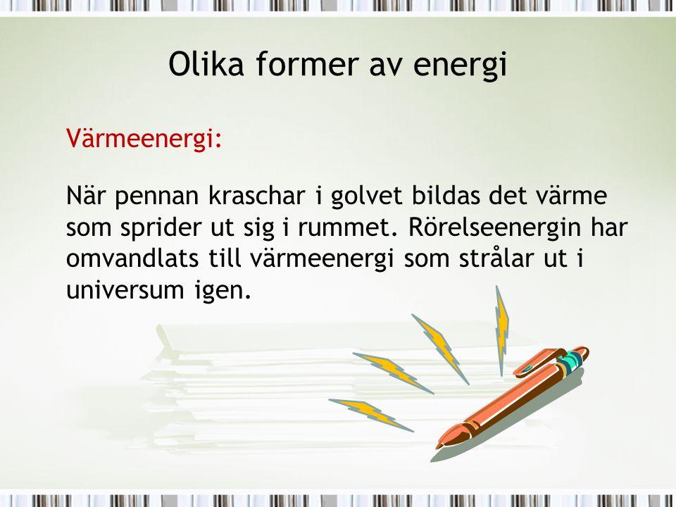 Olika former av energi