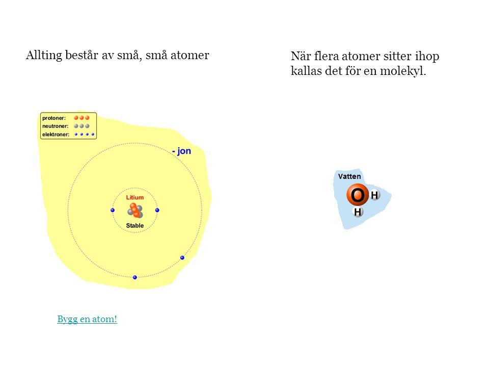 Allting består av små, små atomer När flera atomer sitter ihop