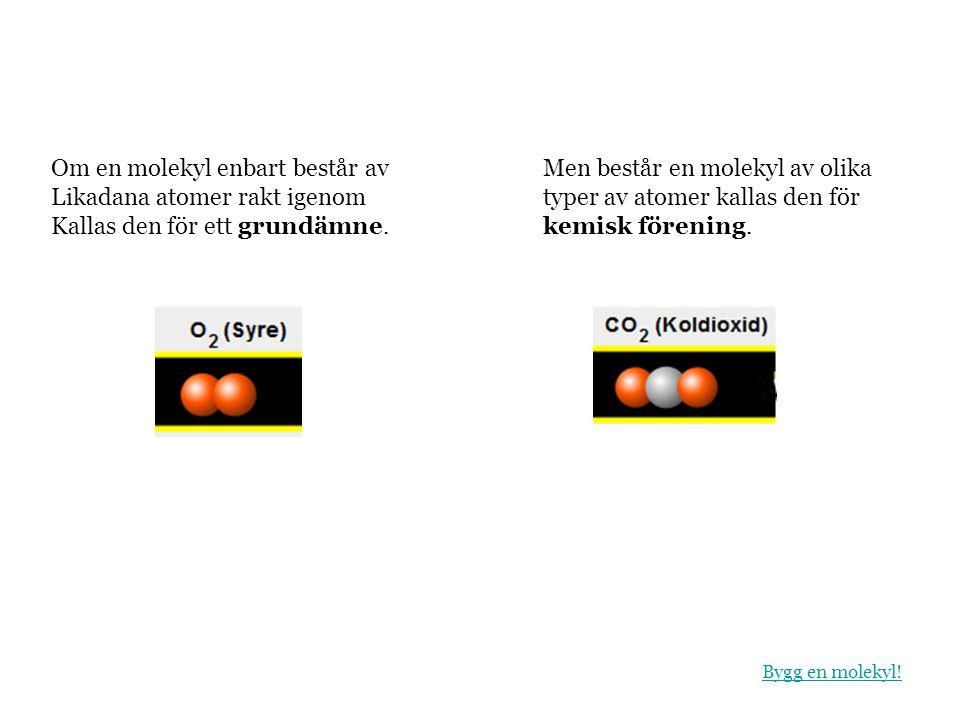 Om en molekyl enbart består av Likadana atomer rakt igenom