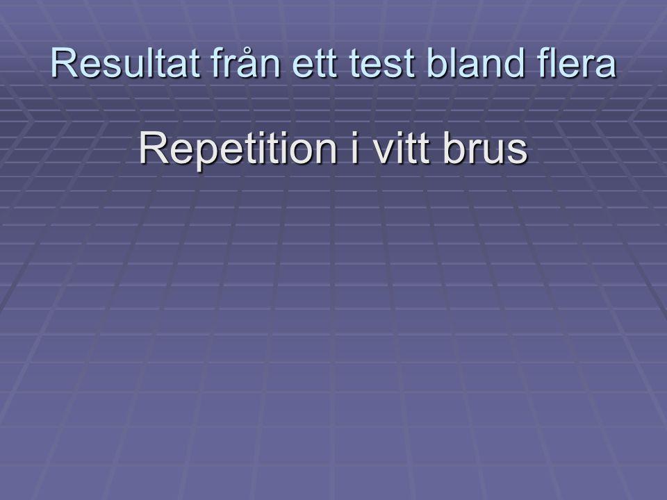 Resultat från ett test bland flera