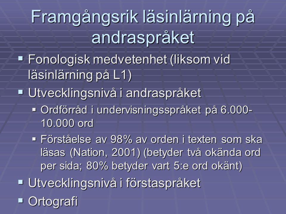 Framgångsrik läsinlärning på andraspråket